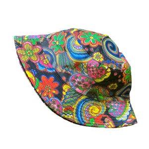 Black Hippie Psychedelic Festival Bucket Hat OS